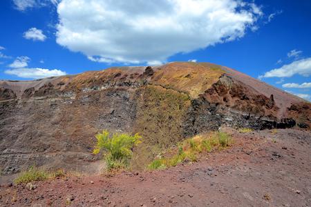 erupting: Vesuvius volcano crater next to Naples. Campania region, Italy