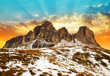 Mountain group Sassolungo (Langkofel) at sunset. Beautiful landscape in Dolomites. Province of Trento, South Tyrol, Italy.