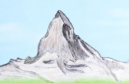 Hand drawn of mountain Matterhorn on paper.