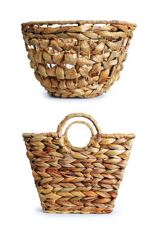 Bamboo basket isolated on a white background.