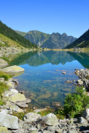 Gaube lake in Pyrenees mountain, France.