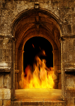 Gate to Hell with Fire Flames.