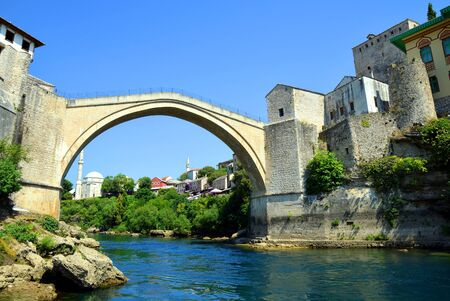 The Old Bridge in Mostar with river Neretva. Bosnia and Herzegovina.