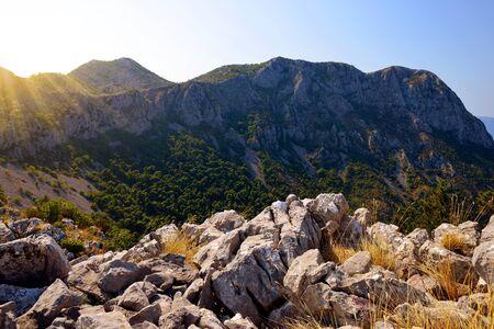Rilic mountain at sunrise. Makarska Riviera, South Dalmatia, Croatia.