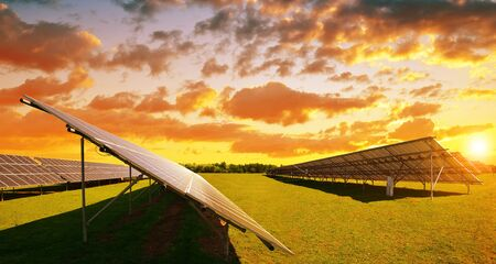 Solar panels at sunset. Power plant using renewable energy. Sustainable resources. Stok Fotoğraf