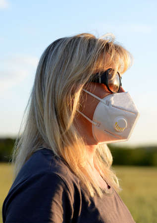 Woman in medical protective mask on her face. Life during covid-19 pandemic.