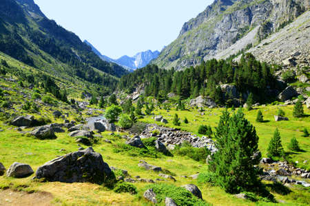 Mountain valley under the mount Vignemale, national park Pyrenees, Occitanie in south of France.