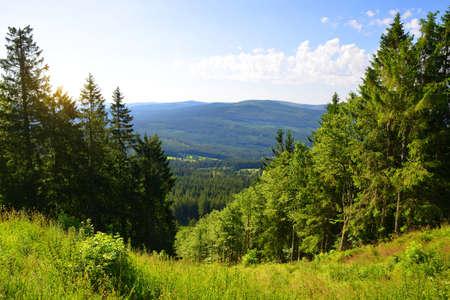 Summer landscape in National Park Sumava. Viewpoint under the top of Pancir mountain. Czech republic.