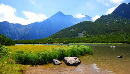 Summer mountain landscape. Lake Biele pleso in the National Park High Tatras ( Vysoke Tatry ). Slovakia, Europe.
