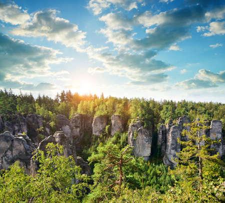 Sandstone rock in Prachovske skaly, Bohemian Paradise (Cesky Raj), Czechia.