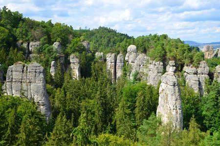 View on rocky sandstone formations in Hruba Skala, Bohemian Paradise (Cesky Raj), Czechia.