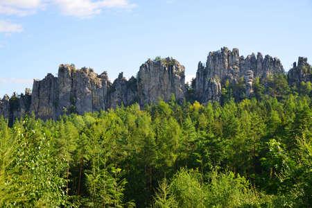 View of the rocky ridge Suche skaly (Dry Rocks) in Bohemian Paradise (Cesky Raj), Czechia.