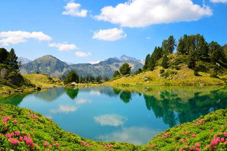 Beautiful mountain landscape in Neouvielle national nature reserve, Lac de Bastan inferieur, French Pyrenees. Foto de archivo