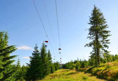 Cableway on mount Pancir, Sumava National Park (Bohemian Forest), Czech Republic. Stockfoto