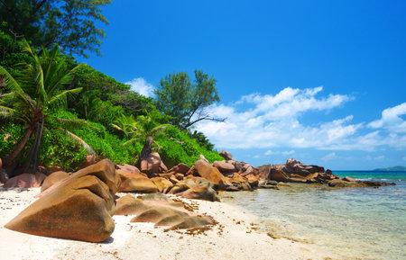 Anse Fourmis beach in La Digue Island, Indian Ocean, Seychelles. Exotic travel destination.