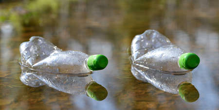 Plastic bottles floating in puddle of water. Pollution garbage in forest. Concept of nature conservation.