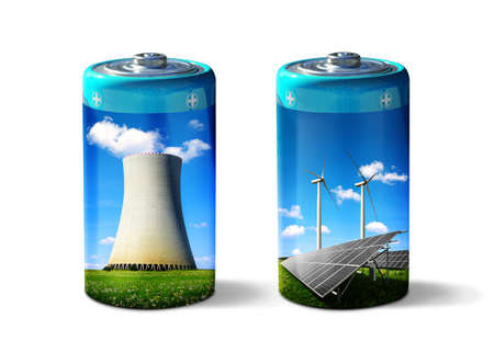Battery with solar panels, wind turbines and nuclear power plant isolated on a white background. Energy resources concept. Stockfoto