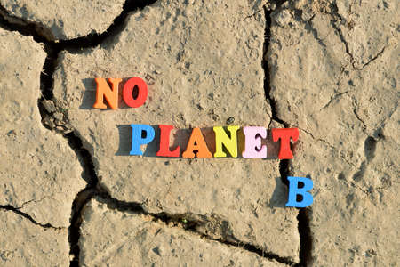 Text No Planet B on arid cracked soil. Concept of climate change or global warming. Stockfoto