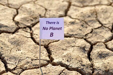 There is no planet b banner on arid cracked soil. Concept of climate change or global warming.