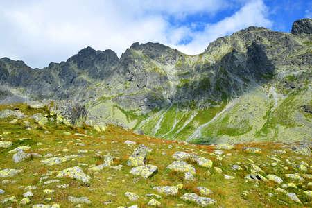 Mountain landscape in Mengusovska Valley, Vysoke Tatry (High Tatras), Slovakia. Stockfoto