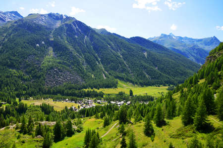 Lillaz village in Gran Paradiso National Park. Aosta Valley, Italy. Beautiful mountain landscape in sunny day.