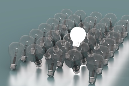 Creativity Concept with Light Bulb Glowing in 3d Stock Photo - 12906188