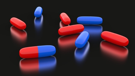 3d pills in red and blue