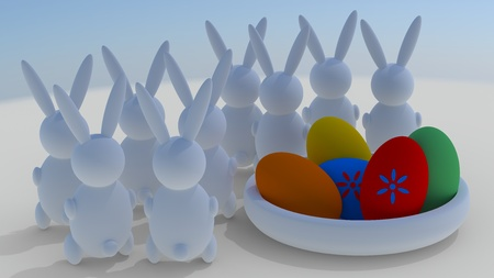 Easter rabbits with easter eggs  Stock Photo