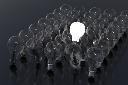 Creativity Concept with Light Bulb Glowing in 3d Stock Photo - 12989922