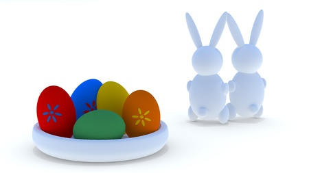Easter eggs with easter rabbits  Stock Photo