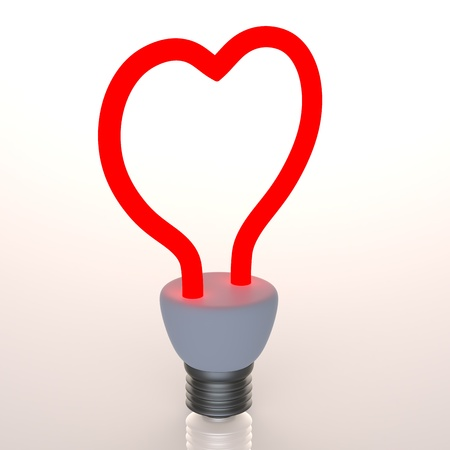 Red heart shaped light bulb isolated on white Stock Photo