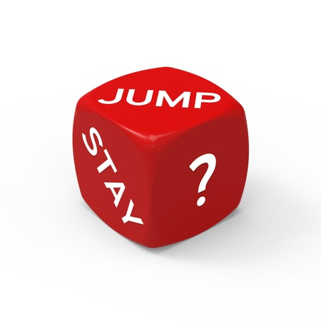 Jump or Stay - How to Make the Right Choice. Stock Photo