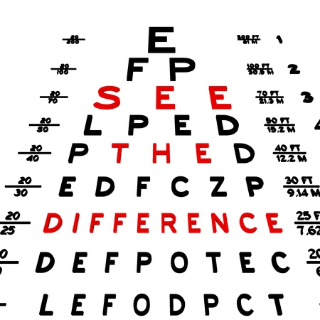 the view option: Abstract eye chart background design isolated on white.