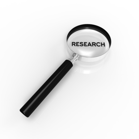 criminology: Magnified Research word illustration on white background.