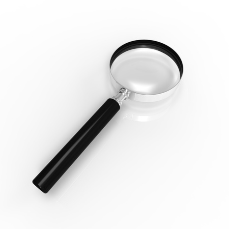 criminology: Magnifying glass isolated on the white background.