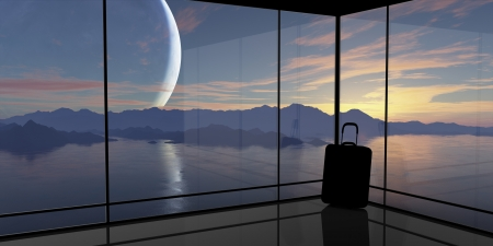 spaceport: Abstract vision of travel. This graphic is entirely computer-generated and, although photorealistic, it does not feature any elements of other images.  Stock Photo