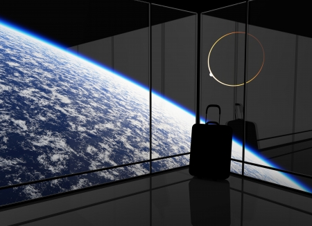 spaceport: Abstract vision of space travel. This graphic is entirely computer-generated and, although photorealistic, it does not feature any elements of other images. Stock Photo