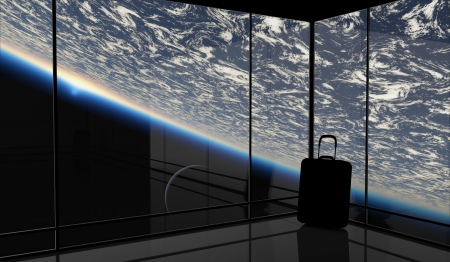 spaceport: Abstract vision of space travel. This graphic is entirely computer-generated and, although photorealistic, it does not feature any elements of other images.