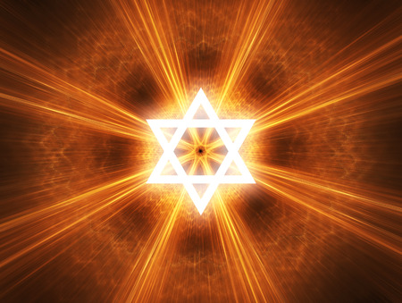 Judaism religious symbol - Star of David. Stock Photo