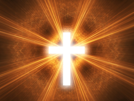 Glowing cross, with radial rays of light. photo