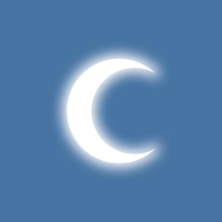 shinning: Half-moon shinning in light. Simple flat design.