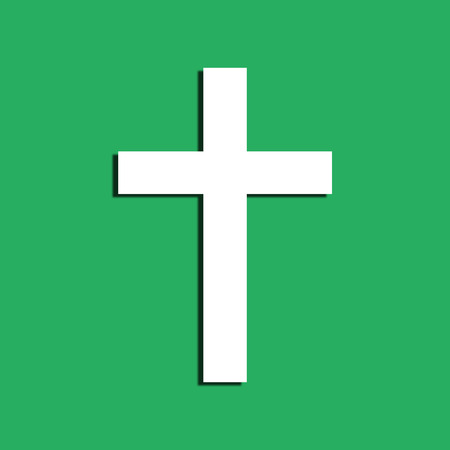 symboll: Cross symboll on a green background  Flat design element