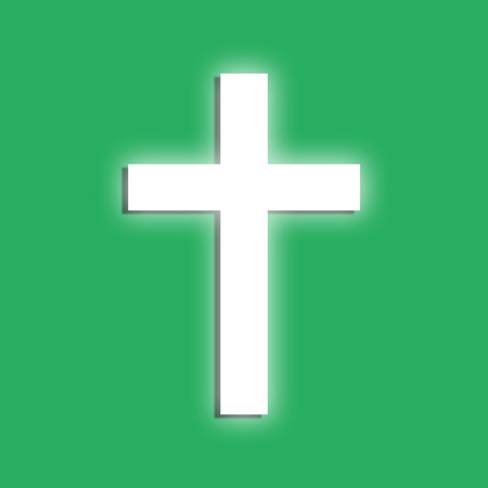 symboll: Glowing cross symboll on a green background  Flat design element