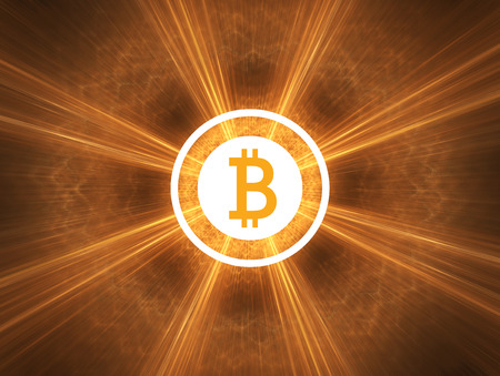 Bitcoin shinning in light. Simple flat design. Stock Photo
