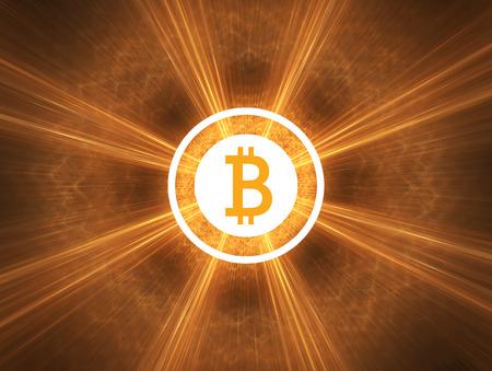 Bitcoin shinning in light. Simple flat design. Stock Photo