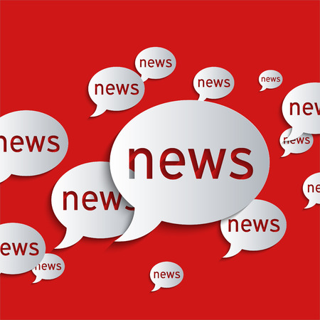 News balloons on a red background. Abstract 3d paper graphics. photo