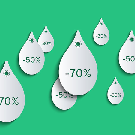 3d paper price tags in the form of falling raindrops. Sale, discount and falling prices concept.