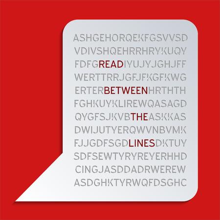 Zwischen den Zeilen lesen - Konzept. Zusammenfassung Hintergrund Design. Standard-Bild