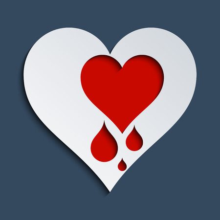 heartbreak issues: Concept for Heartbleed bug, love and heart health. Stock Photo