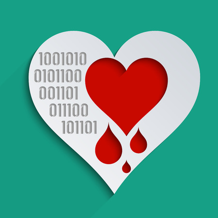heartbreak issues: Heartbleed bug, feelings, blood donation and heart health. Concept for modern technological world.